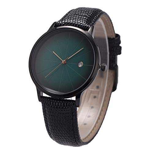 Wrist Watch Ultra-Thin Minimalist Lizard Grain Genuine Leather SIBOSUN Green Men Quartz Date Calendar