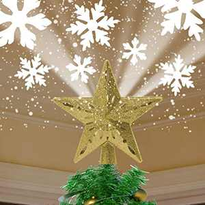 YOCUBY Star Christmas Tree Topper Lighted with Built-in Rotating Magic Ball, Christmas Decoration, LED Treetop Projector for Crown Christmas Tree, Xmas/Holiday/Winter Home Wonderland Party Ornament