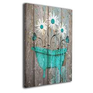 """Okoart 16""""x20"""" Canvas Wall Art Prints Teal White Rustic Flower Bathtub Farmhouse Butterfly Bathroom Powder Room-Picture Paintings Modern Giclee Artwork Wall Decor-Wood Frame Gallery Stretched"""