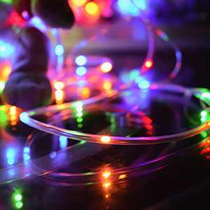 LED Solar Rope String Light, Outdoor Waterproof 100LEDs 40ft Rope Strip Light 8 Modes Street Garland Fairy Lights, Automatic from Dusk to Dawn for Decoation Light (100LED Rope Light)