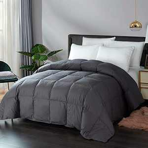 DOWNCOOL 100% Cotton Quilted Down Comforter with Corner Tabs - Goose Duck Down Feather Filling - Lightweight and Medium Warmth Box Stitched All-Season Duvet Insert (Queen,90x90Inches, Gray)
