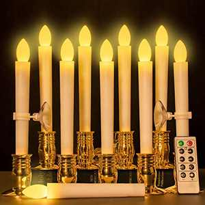 MAXEDOD 10 PCS Led Window Candles with Remote Timer Battery Operated Taper Candles Flameless Flickering, Gold Candle Holders for Christmas, Wedding, Party Decorations