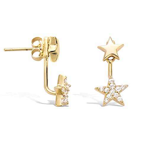 Agvana Mothers Day Gifts Yellow Gold Filled Cubic Zirconia CZ Star Stud Earrings for Mom Grandma Fashion Jewelry for Women Teen Girls Wife Sister Her with Jewelry Box, Height 0.8""