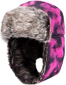 Wantdo Women's Ear Flap Faux Leather Windproof Trooper Snow Trapper Pink Black