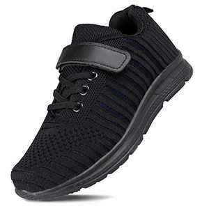Hawkwell Kids Sneakers Boys Girls Breathable Lightweight Athletic Running Shoes(Toddler/Little Kid),Black Fabric,11 M US