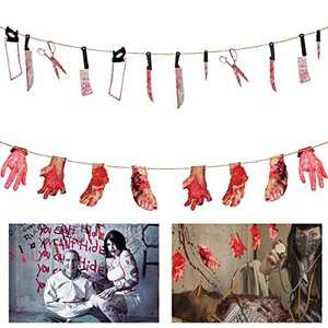 ANPHSIN 2 Set Scary Halloween Decorations - Halloween Bloody Weapon Garland Props, Bloody Hands and Feet Hanging Banner Vampire Zombie Party Supplies