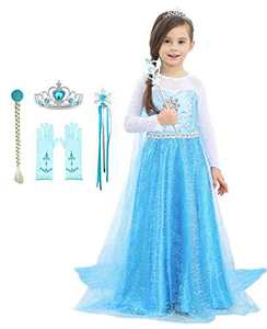 Bestier Girls Princess Dress Costume - Birthday Party Dress Up for Toddler Girl (Blue, 6-7Years)