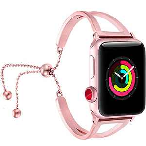 fastgo Bracelet Compatible for Apple Watch Band 38mm 42mm Women, Jewelry Bling Bands Cuff 40mm 44mm Stainless Steel Womens for Iwatch SE & Series 6 5 4 3 2 1 (Rose Pink-38mm 40mm)