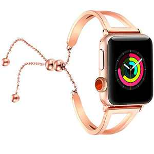 fastgo Bracelet Compatible for Apple Watch Band 38mm 42mm, 2018 Dressy Fancy Jewelry Bangle Cuff for Iwatch Bands Series 4 3 2 1 Women Girls Adjustable Stainless Steel Pendant (Rosy Gold-42mm 44mm)