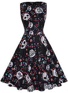 OWIN Halloween Dress Womens Cocktail Swing Dress Skeleton Pumpkin Printed Cosplay Party Costume