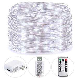 HSicily USB Plug in Fairy Lights with Remote Control Timer, 8 Modes 40ft 120 LED USB String Lights with Adapter, Cool White LED Twinkle Lights for Christmas Bedroom Indoor Decoration