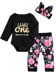 Shalofer Baby Girls Wild One Outfits 1st Birthday Bodysuit Floral Romper (Black Long,12-18 Months)