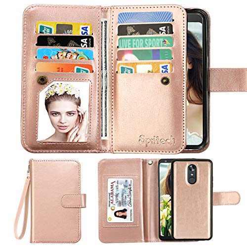Spritech Compatible for Galaxy J7 Refine Wallet Case/Samsung J7 Aero/J7 Aura/J7 Top/J7 Crown/J7 Eon/J7 Star/J7 V 2nd Gen/J7 2018 Case,[9 Card Slots] PU Leather Flip Detachable Kickstand Cover