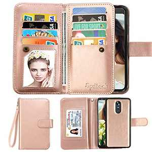 Spritech Compatible for Galaxy J7 Refine Wallet Case/Samsung J7 Aero/J7 Aura/J7 Top/J7 Crown/J7 Eon/J7 Star/J7 V 2nd Gen/J7 2018 Case,[9 Card Slots] PU Leather Flip Detachable Kickstand Cover