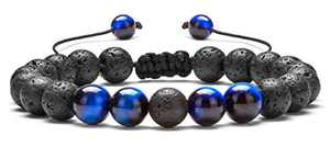 Hamoery Men Women 8mm Lava Rock Aromatherapy Anxiety Essential Oil Diffuser Bracelet Adjustable Natural Stone Yoga Beads Bracelet Bangle(Blue Tiger Eye)
