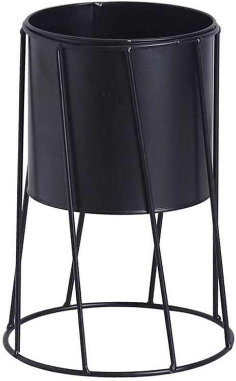 VOSAREA Indoor Flower Pot Succulent Planter Pot Geometric Iron Metal Stand (Black)