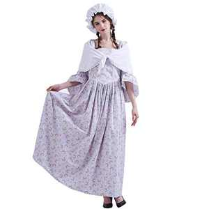 GRACEART Pioneer Colonial Women Costume Prairie Dress 100% Cotton Grey size-10