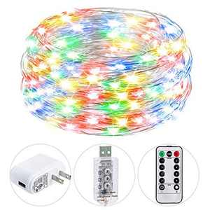 HSicily USB Plug in Fairy Lights with Remote Control Timer, 8 Modes 40ft 120 LED USB String Lights with Adapter, Multi Color LED Twinkle Lights for Christmas Bedroom Indoor Decoration
