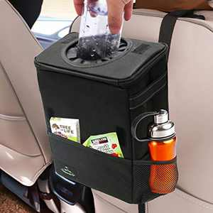 Freesooth Car Garbage Can,Waterproof Weighted Car Trash Can with Flip Open Lid and Storage Pockets Collapsible Hanging Car Trash Bag