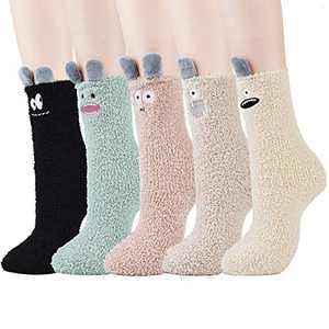 Women Fuzzy Socks,Aniwon 5 Pairs Cute Cartoon Cozy Fuzzy Socks Winter Warm Socks Slipper Socks for Women
