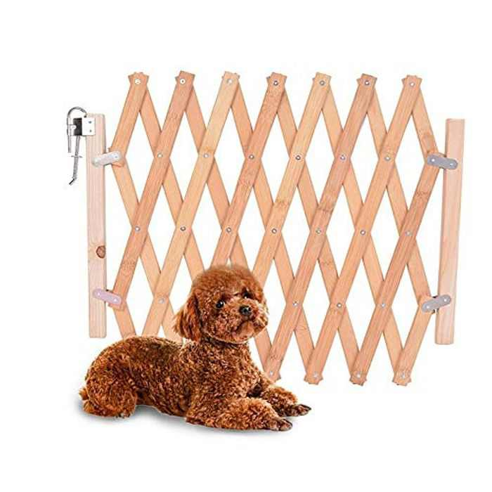 Pet Isolation Door Wooden Fence Expanding Divider Gate for Dog Cat Family Pet Safety Protection Barrier, Extendable Length max. 43 inches, H: 32 inches,Natural Wooden, Metal (S)