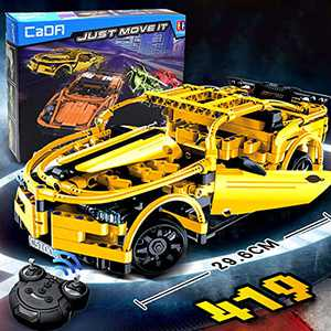 The perseids Kids STEM Building RC Car, Remote Control Building Block Race Car Sport Car for Adults (Yellow - 421pcs)