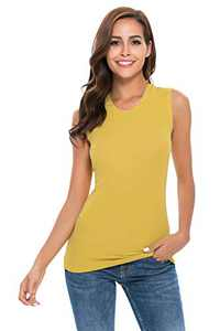 A Grain of Wheat Womens Tank Top Sleeveless Crew Neck Undershirt Soft Layer Fitted T-Shirt
