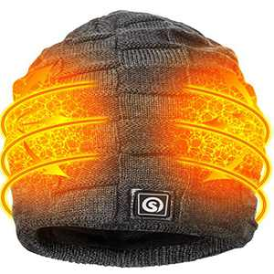 Sun Will Battery Heated Beanie Hat,Electric Rechargeable Warm Winter Heated Fleece Cap Gray