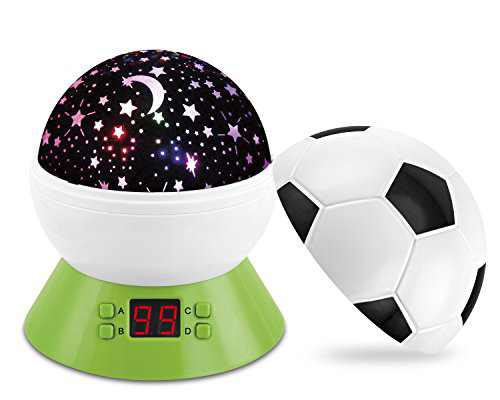 Night Light Star Projector, Soccer Night Light with Timer Auto Shut-Off Lamp, Colorful Rotating Star Light Projector for Kids, Birthday Gift for Kids