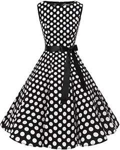 Bbonlinedress Womens Vintage 1950s Boatneck Sleeveless Retro Rockabilly Swing Cocktail Dress Black White BDot 2XL
