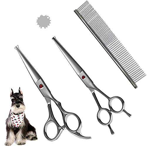 Professional Pet Grooming Scissor with Round Tip Stainless Cutter for Dogs and Cats,Scissors & Comb Kit,Fit Small Medium Large Big Dog/Cat