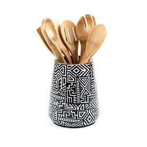 Kitchen Utensil Holder or Utensil Crock, Large Decorative Wooden Utensil Organizer for Spatula, Spoon or Cooking Tools, Mango Wood, Tribal Black
