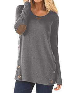 Aliex Women's Tunic Top Casual Long Sleeve Blouse T-Shirt Faux Suede Button Décor Grey XL