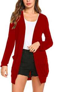 Womens Plus Size Lightweight Long Sleeve Open Front Knit Long Cardigans Sweaters with Pockets (XL, Red)