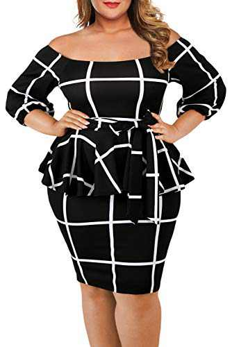 VINKKE Women's Off Shoulder Peplum Dress Checked Bodycon Party Dress, Black, X-Large