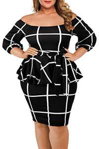 VINKKE Women's Plus Size Off Shoulder Peplum Dress Checked Bodycon Party Dress,Black,XXX-Large