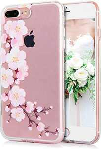 TRENSOM iPhone 8 Plus Case iPhone 7 Plus Case for Women Clear Protective Case with Design, Cute Slim Bumper Case, Pink Floral Pattern Soft TPU, Shockproof Phone Cases Anti-Scratch, White Pink