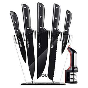 Kitchen Knife Set 7-Piece Professional with Acrylic Block   OOU German High Carbon Stainless Steel with Sharpener   Triple Rivets Durable & Sharp & BO Oxidation Anti-rusting