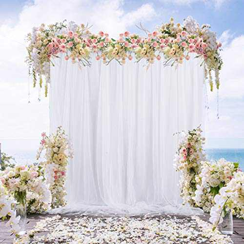 White Tulle Backdrop Curtain for Party Baby Shower Wedding Bridal Gender Reveal Photoshoot Drape Backdrop for Engagement Birthday 5ft x7ft White Photography Backdrop Decoration