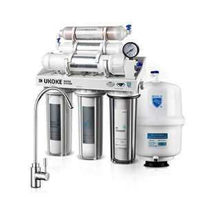 Ukoke UWFS01L 6 Stages Reverse Osmosis Water Filtration System, Under Sink pH+ Alkaline Remineralizing RO filter & Softener, NSF/ANSI 58 & IAPMO Platinum Seal Certified, 75 Gallon, White