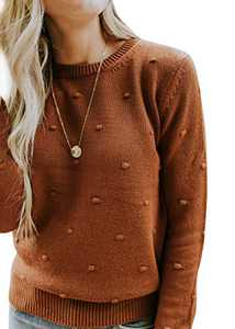 Cosygal Women's Casual Dots Long Sleeve Knit Sweater Pullover Jumper Brown Small