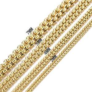 Granny Chic 2-7mm Gold Tone Womens Mens Stainless Steel Rolo Cable Wheat Chain Link Necklace 7-40 Inch (30 inches, 5mm)