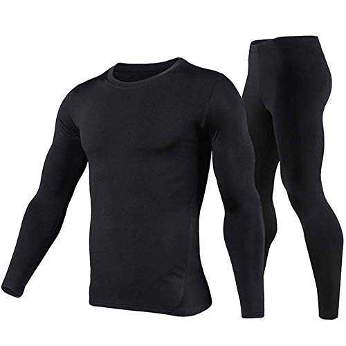 Thermal Underwear Men Ultra-Soft Long Johns Set with Fleece Lined Base Layer Winter Skiing Warm Top & Bottom Black