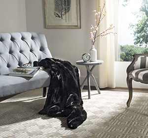 Safavieh Faux Black Mink Throw Blanket, Onyx
