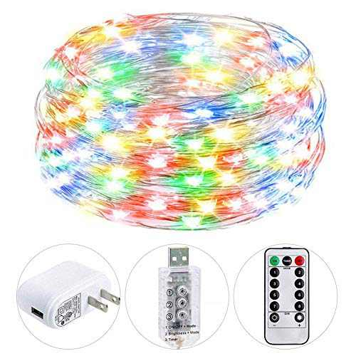 HSicily 49ft 150 LED Fairy Lights USB Plug in with Remote Control Timer, 8 Modes String Lights with Adapter,Multi Color LED Twinkle Lights for Christmas Thanksgiving Indoor Decoration