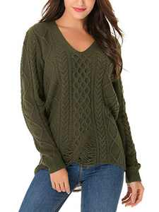 Yomoko Women's Long Sleeve V Neck Ripped Hole Casual Loose Oversized Knit Sweater Pullover Tops XX-Large, ArmyGreen