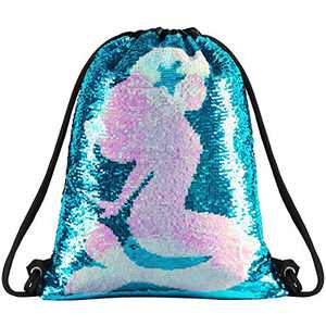 Segorts Sequin Mermaid Drawstring Bag Reversible Sequin Dance Bag for Girls Kids­ (DB-MermaidSty)