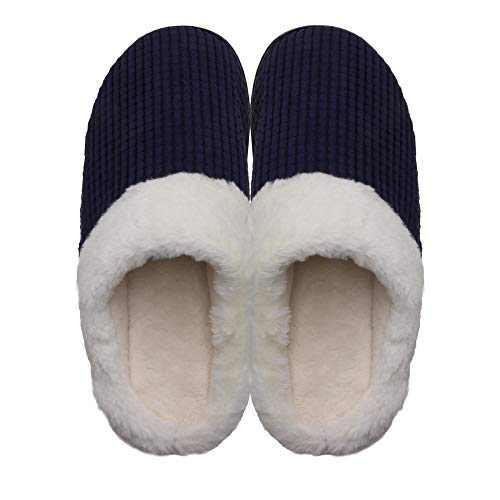 Men's Cozy Slip On Memory Foam Slippers Fuzzy Plush Lining House Shoes Blue Men US 11-12