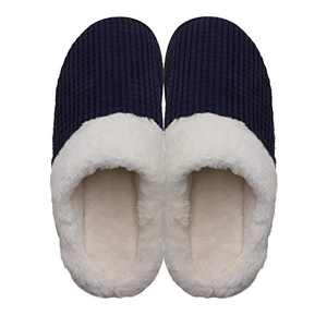 Men's Cozy Slip On Memory Foam Slippers Fuzzy Plush Lining House Shoes Blue Men US 11-12