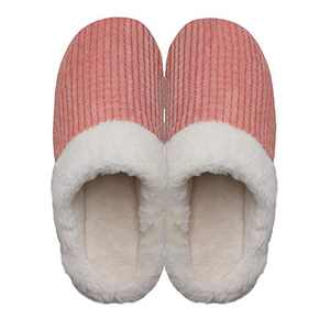 Women's Cozy Slip On Memory Foam Slippers Fuzzy Plush Lining House Shoes Pink Women US 11-12